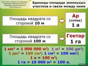 В чем измеряется площадь земельных участок