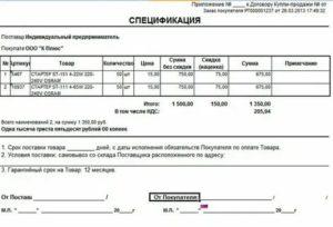Спецификация к договору купли продажи