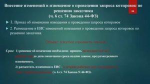 Приказ о внесении изменений в конкурсную документацию по 44 фз