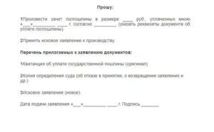 Заявление на зачет госпошлины в суде общей юрисдикции образец