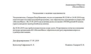 Предарбитражное уведомление о задолженности образец 2021